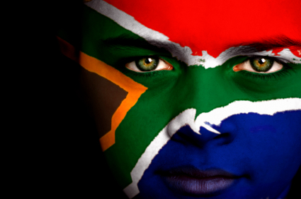 South African flag on face