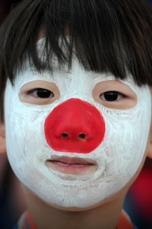 japan flag on face
