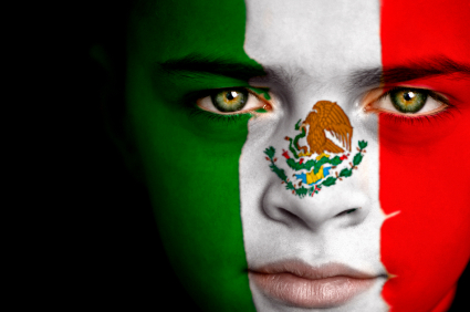 Mexican flag on face