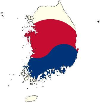 south korea flag map