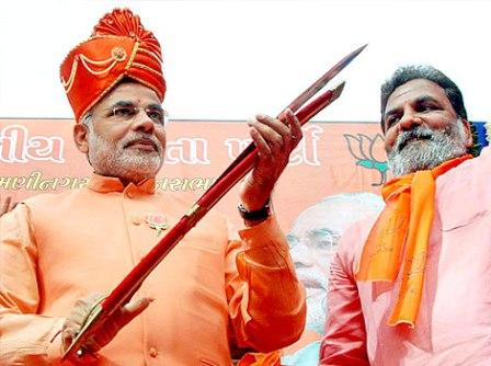 Narendra Modi with sword in hand