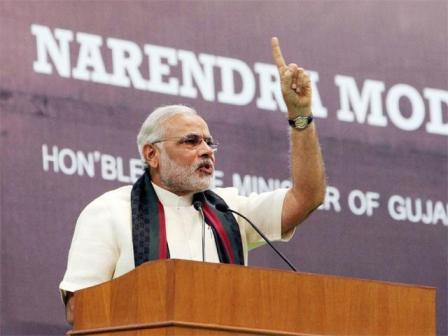 Narendra Modi photo during his speech